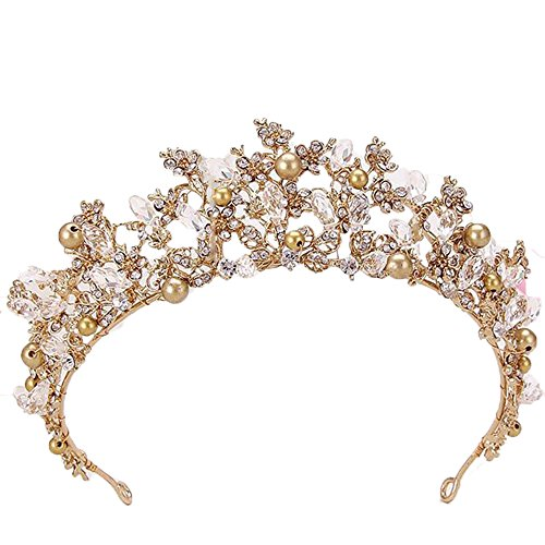 Sunshinesmile Crystal Bridal Tiaras Flower Wedding Crown for Bride Wedding Pageant Hair -