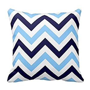 Navy Blue and Sky Blue Chevron Design Pillowcase Covers Decorative for Sofa 18x18 Inch Two Sides