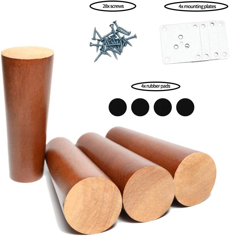 Maricome 6 Inch Wood Furniture Legs Replacement Cabinet Couch Chair Sofa Legs Walnut Finished Set of 4
