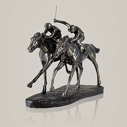 AINIYF Two Jockeys Horse Racing Cold Cast Bronze Figurine,Statues Horse Racing Cabinet Decoration Resin Figure Decorations Bedroom Home Furnishings Porch Crafts/11.8x5.1x10inches]()