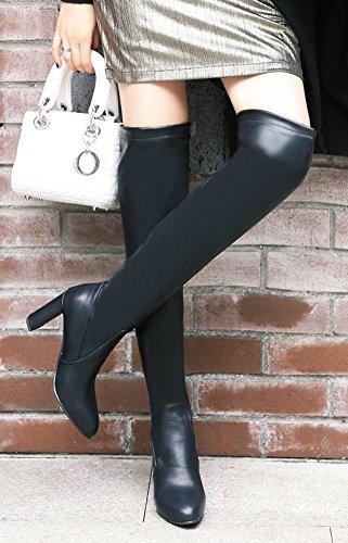 Aisun Womens Simple Bout Rond Sexy Stretchy Chunky Haut Talon Haut Tirer Sur Le Genou Haute Bottes Chaussures Noir