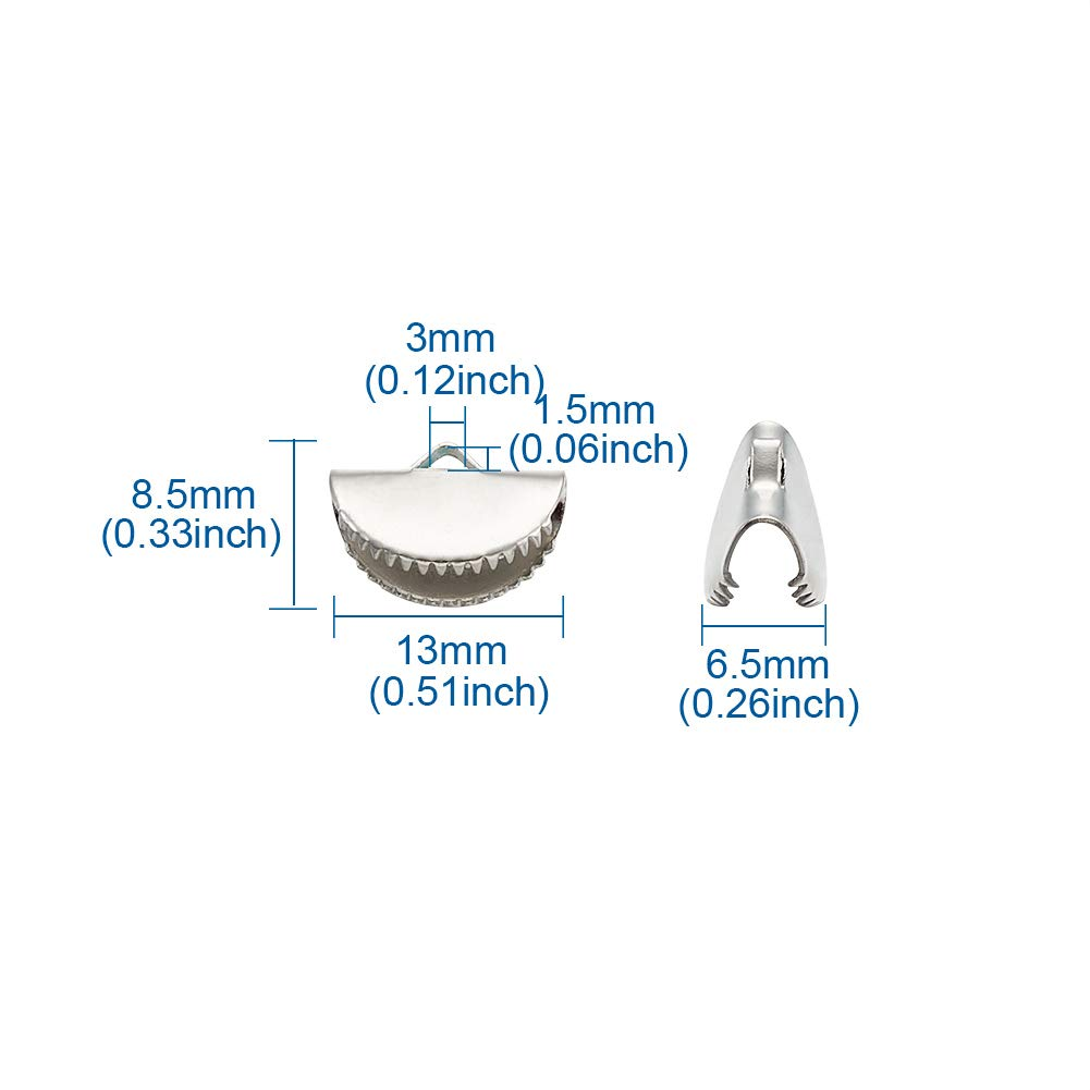 Pandahall 200pcs Half Round Ribbon Crimp Ends Semi Circle Crimp End Clip Clamp Leather Cord Cap Tip Platinum for Jewelry Making DIY Crafts Supplies 15x9x6.5mm