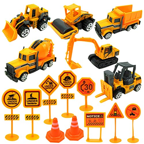 Livoty 1:64 AlLivoty 1:64 16Piece Alloy Inertloy Inertia Toy Early Engineering Vehicles Friction Powered Kids Dumper, Bulldozers, Excavator Toy with 10Piece Road Sign for Children Kids Boys and Girls, -