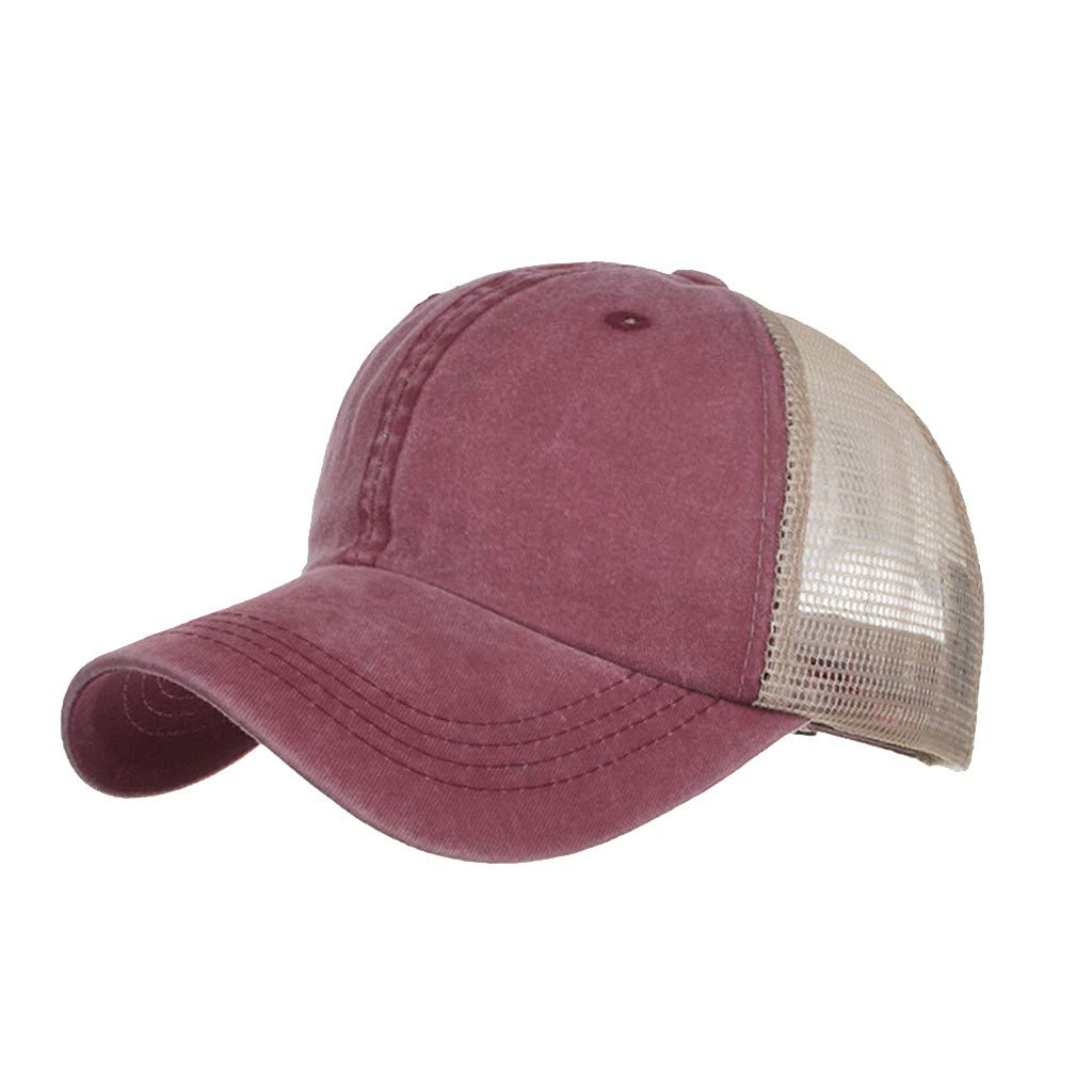 Outdoor Sport Hats Unisex Summer Baseball Cap Washed Cotton Hat Casual Cap Wine