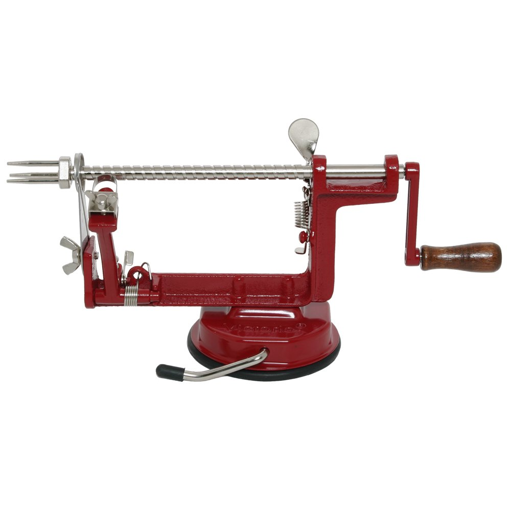 Johnny Apple Peeler with Suction Base, Stainless Steel Blades, Red Cast Iron Body | Apple Slicer, Corer, Parer and Pie Maker VKP1010 by Victorio Kitchen Products