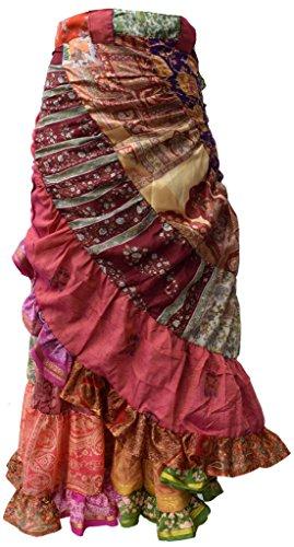 Little Kathmandu Women Asymmetrical Patchwork Wrap Around Long Skirt Silk