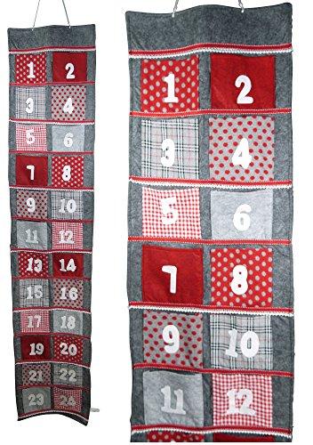 khevga Adventskalender zum befüllen XXL mit extra großen Taschen (Tasche ca. 11 x 12 cm)