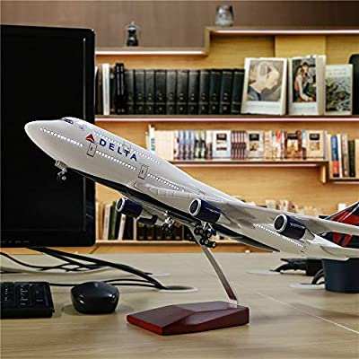 "24-Hours 18"" 1:130 Airplane 1 Scale Model Delta 747 with LED Light(Touch or Sound Control) for Decoration or Gift"