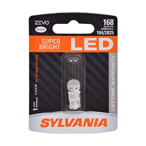SYLVANIA   168 T10 W5W ZEVO LED White Bulb   Bright LED Bulb, Ideal For Interior Lighting   Map, Dome, Truck, Cargo And License Plate (Contains 1 Bulb)