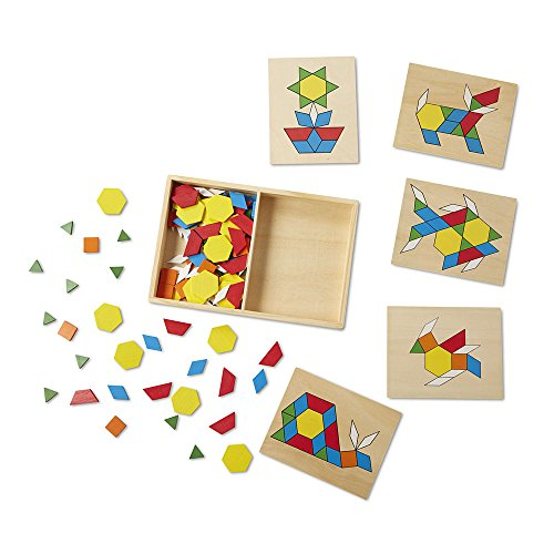 51QHUuclZYL - Melissa & Doug Pattern Blocks and Boards - Classic Toy With 120 Solid Wood Shapes and 5 Double-Sided Panels