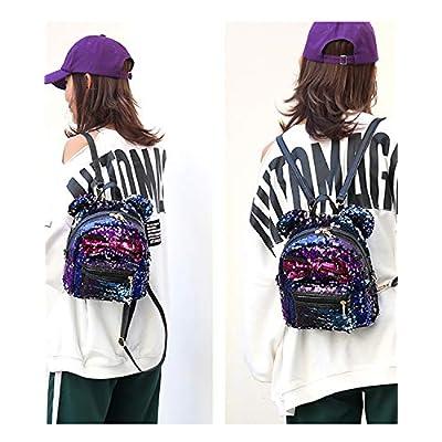 Sequin Backpack Cute Backpack Shoulder School Fashion Backpack Ears Bowknot Bag for Girls Women | Kids' Backpacks