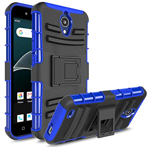 AT&T AXIA QS5509A Case, Androgate [Armor Series] Hybrid Heavy Duty Combo Phone Case Cover with Kickstand for AT&T AXIA (Cricket Vision), Blue ()
