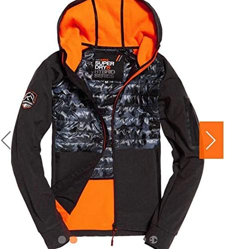 Details about  /Superdry Men/'s Charcoal Grit Grey//Camo Mountain Softshell Hybrid Hooded Jacket M