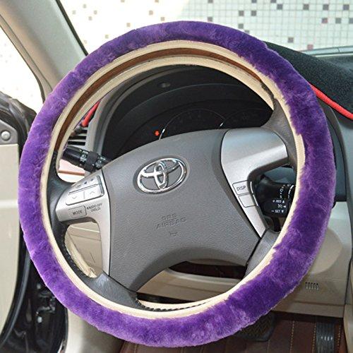 Shuanghong Winter Warm Plush Skid-proof Odourless Car Auto Truck Steering Wheel Cover Purple USA