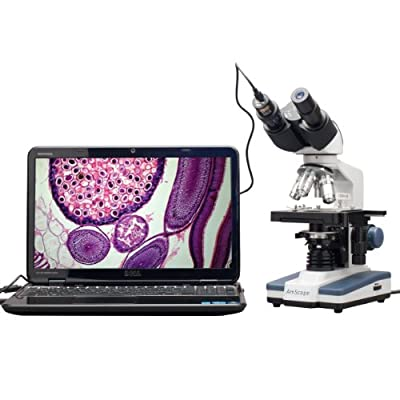 Compound Microscope :: AmScope 40X-2500X LED Biological Binocular Compound Microscope with 3D Double Layer Mechanical Stage +1.3MP USB Digital Camera Imager by Amscope