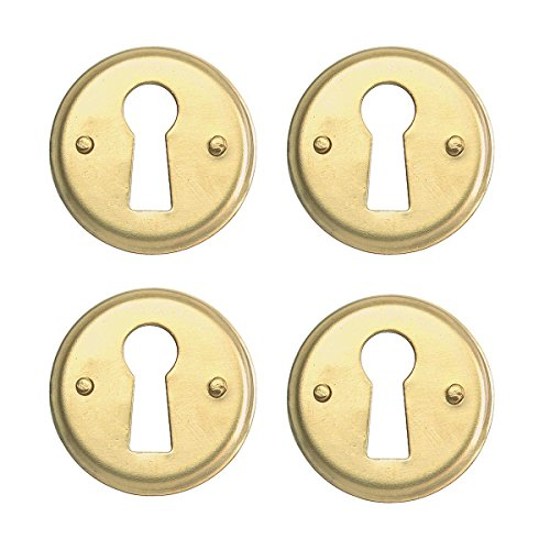 Round Keyhole Cover Bright Brass Escutcheon Tarnish Resistant 1 In. Diameter Set Of - Cover Brass Keyhole