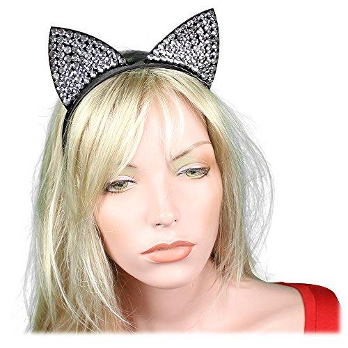 Women 20s 30s Party Prom Vintage 1920s Gatsby Black Silver Cat Kitten Ear Headpiece Headbands Flapper Crystal Headdress