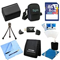 NP-FV50 Battery Kit 9 pc Kit Deluxe 8GB SD Card Bag Table-top Tripod Sony HandyCam Camcorder FDR-AX53, HDR-CX675/B, HDR-CX455/B, HDR-CX190, HDR-CX200, HDR-CX210, HDR-CX220, HDR-CX230, HDR-CX290