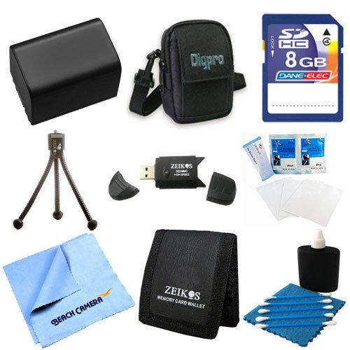 NP-FV50 Battery Kit 9 pc Kit Deluxe 8GB SD Card Bag Table-top Tripod Sony HandyCam Camcorder FDR-AX53, HDR-CX675/B, HDR-CX455/B, HDR-CX190, HDR-CX200, HDR-CX210, HDR-CX220, HDR-CX230, HDR-CX290 -  Special, UNACKNPFV50