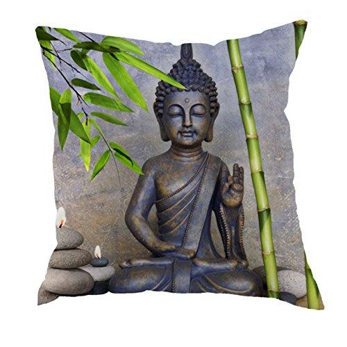 dodola Decorative Throw Pillow Covers Buddha Bamboo Cotton Linen Cushion Covers for Spa Meditation Yoga Room Decor 4Pcs by dodola (Image #1)