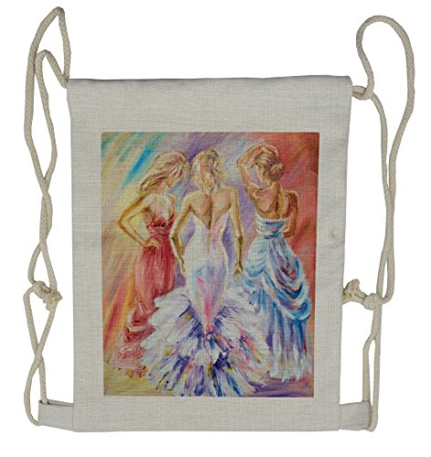 Lunarable Country Drawstring Backpack, Dress Up Party Theme Ladies, Sackpack Bag]()