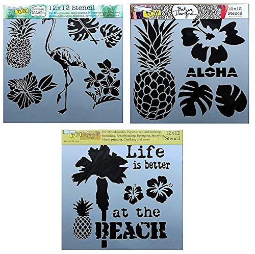 3 Tropical Style Flamingo, Pineapple, Palm Tree and Leaf Themed Stencils | Large Mixed Media Stencil Set for Arts, Card Making, Journaling, Scrapbooking | 12 x 12 Inch Templates | By Crafters Workshop ()