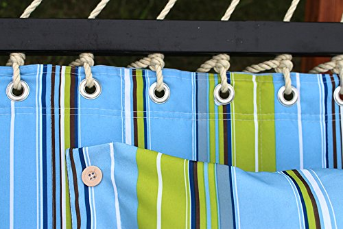 Zeny New Portable Cotton Hammock Quilted Fabric with Pillow Double Size Spreader Bar Heavy Duty Outdoor Camping w/ Detachable Pillow, Suitable for 9FT Hammock Stand (Blue/Green)