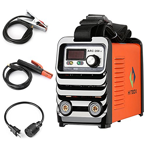 ARC Welder 200 Actual Current 140A MMA Stick IGBT DC Inverter Welding Machine 110V 220V Dual Voltage with Strap Accessaries Earth Clamp and Electrode Holder Adapter Cord Complete Package Ready to Use