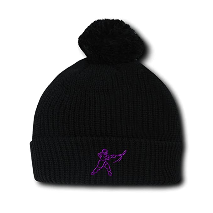 Purple Women s Hockey Embroidery Embroidered Pom Pom Beanie Skully Hat Cap  Black c7c52a40b6