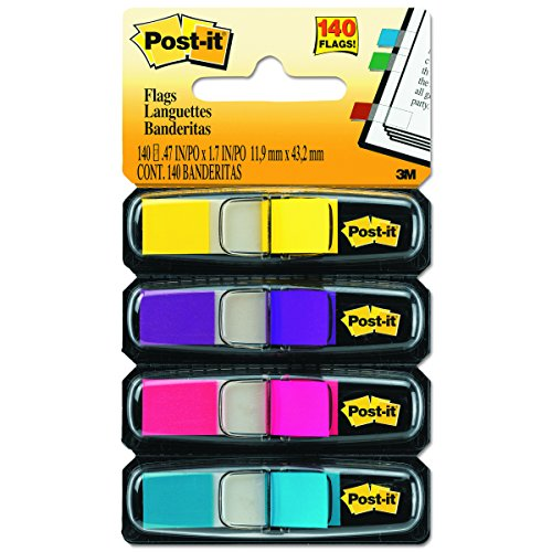 Post-it Flags, Assorted Bright Colors, 1/2-Inch Wide, 35/Dispenser, 4-Dispensers/Pack (Post Meter Flags 3)