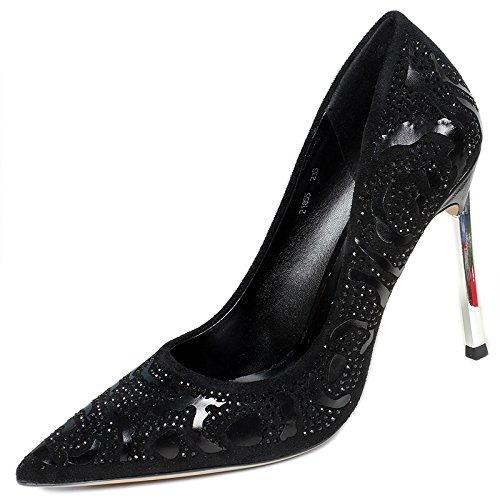 Damas Estilo de black YMFIE de Zapatos tacón Rhinestone Temperamento Europeo cómodos Zapatos Zapatos 4Sw6Pq