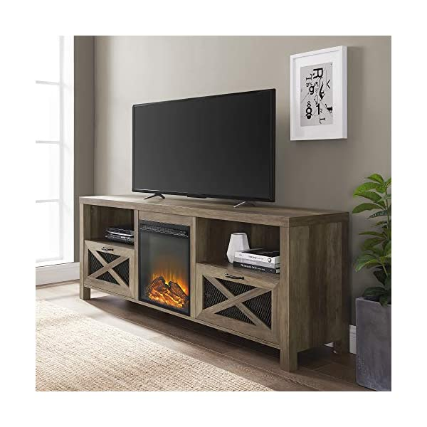 """Walker Edison Modern Farmhouse X Wood Fireplace Universal Stand for TV's up to 80"""" Flat Screen Living Room Storage Shelves Entertainment Center, 70"""", Rustic Oak"""