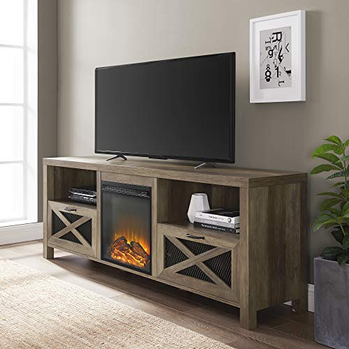 Walker Edison Modern Farmhouse X Wood Fireplace Universal Stand for TV's up to 80″ Flat Screen Living Room Storage Shelves Entertainment Center, 70″, Reclaimed Barnwood