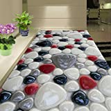 LHDLily 3D Wallpaper Mural Wall Sticker Thickening Custom Color Cobblestone Floor Paintings For Living Room Bathroom Self-Adhesive Modern Wall Art Floor 400cmX300cm