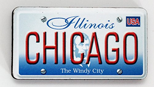 Chicago Illinois License Plate Wood Fridge Magnet 3