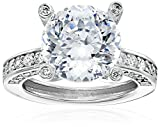 "Platinum Plated 925 Sterling Silver ""100 Facets Collection"" Solitaire Cubic Zirconia Ring with Channel-Set AAA Cubic Zirconia Accent (6 cttw)"