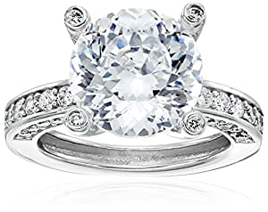 """Platinum Plated 925 Sterling Silver """"100 Facets Collection"""" Solitaire Cubic Zirconia Ring with Channel-Set AAA Cubic Zirconia Accent, Size 5 (5 cttw)"""