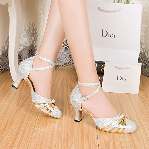 Strap FHL003 Antiskidding Silk Sole Latin Silvery Heel Comfy Sole Block CFP Pumps Outdoor Ballroom Modern Dance Ankle X Tango Round Toe Womens Soft Lightweight Buckle 6qxAxdR