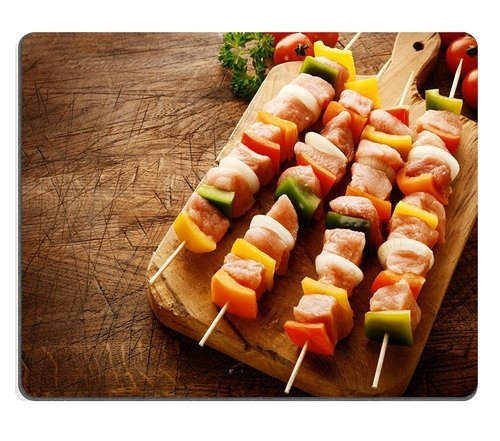Price comparison product image Natural Rubber Gaming Mousepad 33283111 Tasty Uncooked Meat Kebabs in a Country Kitchen with Cubed Meat Diced Colorful Bell Peppers Onion and Tomato on a Wooden Chopping Board Ready