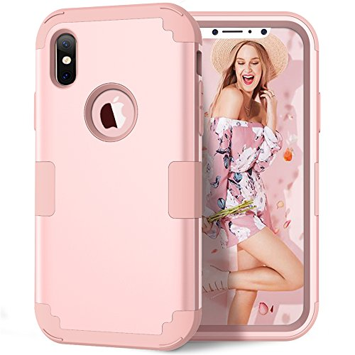 iPhone X Case, iPhone XS Case, KAMII 3in1 [Shockproof] Drop-Protection Hard PC Soft Silicone Combo Hybrid Impact Defender Heavy Duty Full-Body Protective Case Cover for Apple iPhone X/XS (Rose Gold)