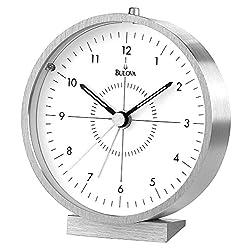 Bulova B6844 Flair Clock, Brushed Finish