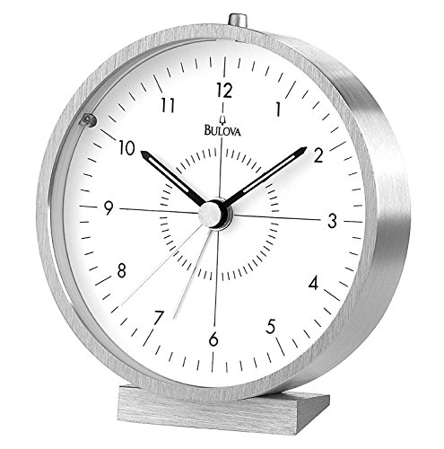 Silver Tone Desk Clock (Bulova B6844 Flair Clock, Brushed Finish)
