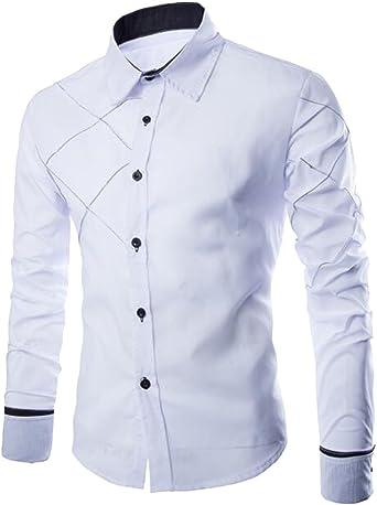 ISSHE Camisas Slim Fit Hombre Camisa Regular Fit Básica Cuello Clásico Camisas de Vestir Formal Caballero Camisas Vestidos Entalladas Casuales para Hombres Juveniles Camisetas Manga Larga: Amazon.es: Ropa y accesorios