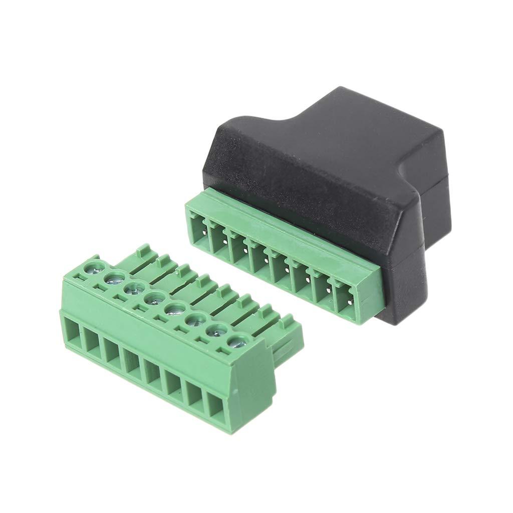 YoungerY 1pc Terminal de Tornillo Hembra RJ45 Conector de 8 Polos Extensor de Cable Ethernet Adaptador