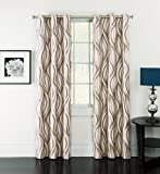Window Accents Celestina Wave Jacquard Grommet Panel, 54-Inch by 84-Inch, Mocha Review