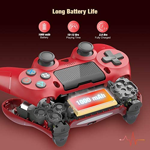 Wireless Controller for Playstation 4, Game Controller for PS4/Pro/Slim, PS4 Control Remote Gamepad with Dual Motors, Motion and Stereo Jack,1000mAh Battery, 2020 Version (Red)