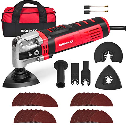Goplus Oscillating Tool Kit, 3.5-Amp 6 Variable Speed Oscillating Multi-Tool Kit with Quick-Lock Accessory Change, Oscillating Angle 4.5°, 30pcs Accessories and Carry Bag