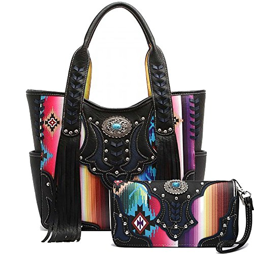 -Striped Serape Fringe Concealed Carry Tote Handbag and Wallet (Black) (Trendy Western Wallet)