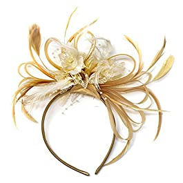 Champagne Gold Beige Camel and Cream Fascinator on Headband Alice Band UK Wedding Ascot Races Derby