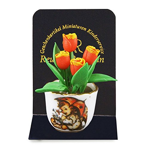 (Dollhouse Miniature MI Hummel Flower Pot w/Orange Two Tone Tulips)